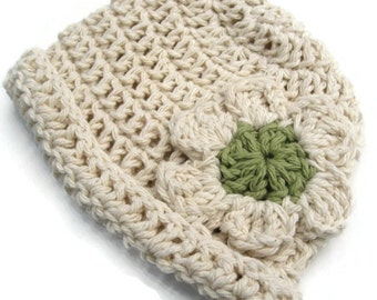 Cotton rolled brim beanie with daisy for newborn-Hat No. 20