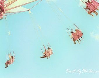 Summer Carnival 3 : whimsical carnival photography paris jardin des tuileries retro blue sky home decor 8x12 12x18 16x24 20x30 24x36