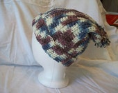 Crochet Varigated Blues/Browns Slouch Hat