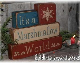 Primitive, Folk Art, It's A Marshmellow World, Block Chunkies