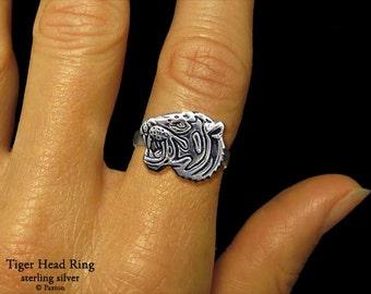 Tiger Head Ring Sterling Silver