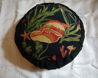 Zafu Meditation cushion, Underwater sea creature fabric design on top, All fabric cotton, filled with Buckwheat hulls