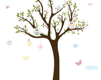 Wall Decals Nursery. Tree Decal. Wall Decal Tree. Tree and owls decal. Nursery wall decal. baby tree decal.