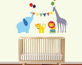 Wall Decal Nursery Circus Decal - modern Nursery Decor - Giraffe, Lion, Elephant, Tiger, Banner, Balloons