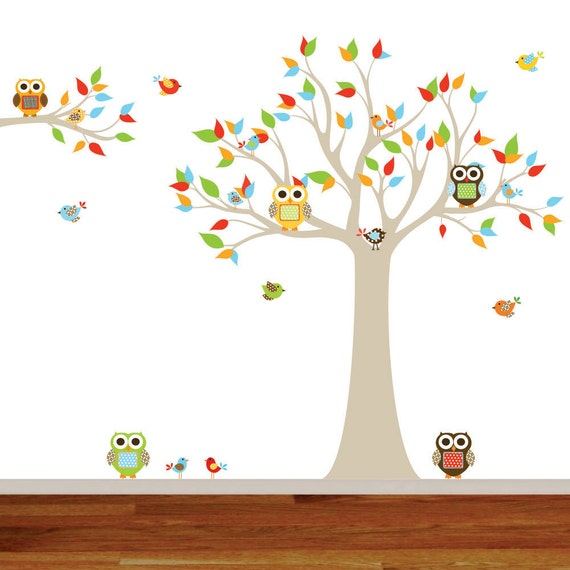 Wall Decals Nursery - Nursery wall decal - Owl Tree Wall Decal. Boy Wall Decal Tree. Nursery Decals - Tree