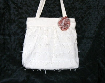 Off White Eyelash Fabric Purse