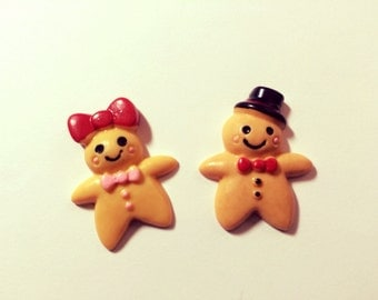 Christmas Gingerbread Man and woman Couple, pins, set of two, lapel pin, tie tack, button, brooch, broche