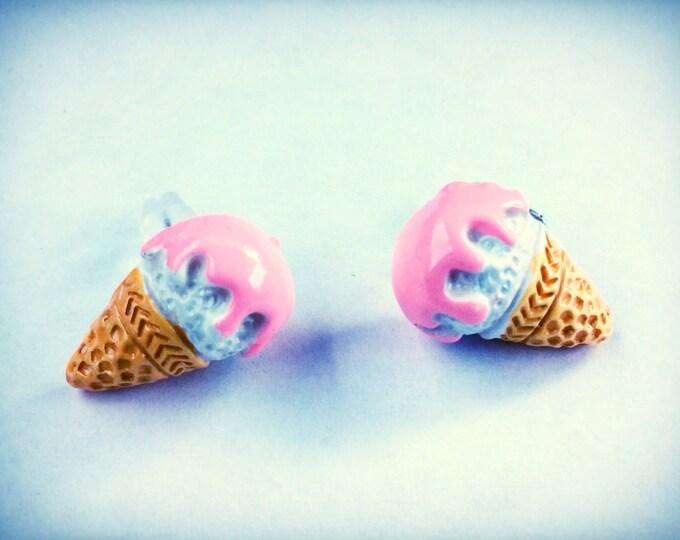 Ice cream cone miniature food post earrings, kawaii, geekery, pink, hypoallergenic, sensitive skin post option available