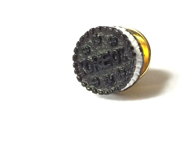 Cookies and Cream Brass Tie Tack, Cookie Lapel Pin, brooch, Miniature Food Pin,  button, brooch, broche