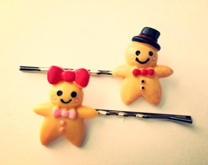 Gingerbread Couple, Gingerbread man & woman Bobby Hair Pins