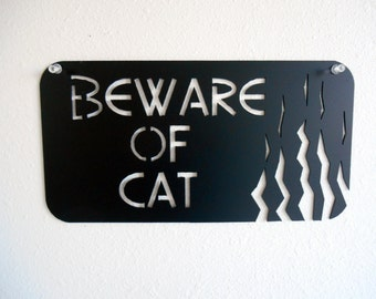 Beware of Cat Metal Wall Decoration Sign