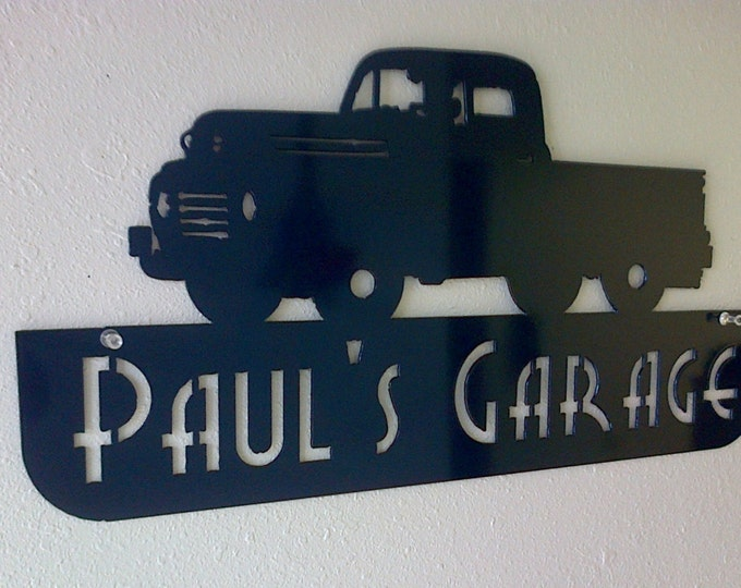 Personalized Man Cave Classic Ford Truck Garage Sign Custom Colors