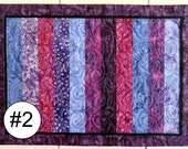 Handcrafted Striped Quilted Batik Table Mats priced to buy one at a time or mix and match a set  featuring purples