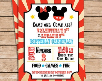 Mickey & Minnie Birthday Carnival Invitations
