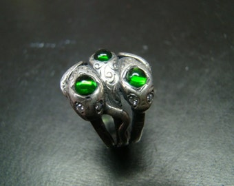 Beautifully Detailed Sterling Silver Snake ring with Cabochon Chrome Diopsides and Genuine Diamonds