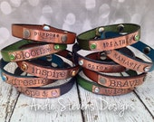 Leather Bracelet - Personalized Cuff - Hand Stamped Word - Inspirational Jewelry - Rustic Copper - Boho Bracelet - Skinny Leather Bracelet