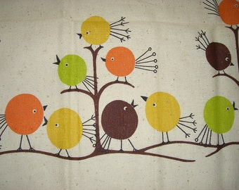 Vintage cotton Print Fabric Panel Birds