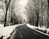 Winter Print Black and White Photography - Large Print - The Road Home -  Home Decor -Office - Landscape, Gift New England SnowScene