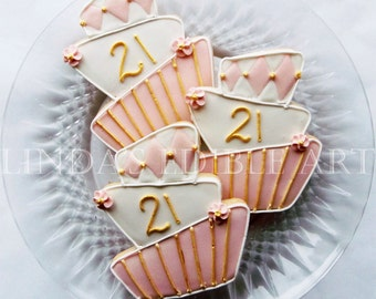 Topsy Turvy 21st Birthday Cookie (1 Dozen)