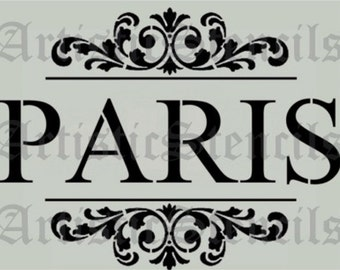 STENCIL PARIS with Scroll Brackets  10x8