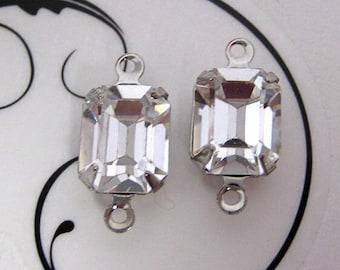 10x8 Swarovski Crystal Clear Octagon Machine Cut Glass Set Rhinestone In Silver Prong Settings