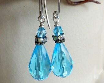 Sky Blue Preciosa Crystal Earrings,Blue Teardrop Earrings,Sterling Silver Earrings