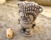 Tiki high fired ceramic bottle bead - Peruvian, ceramic, hawiian, surf, vessel