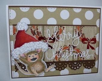 Mouse Merry Christmas-  Blank NoteCard, Greetings Card, Handmade Card