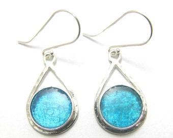 Best Deal Sale --Bluish  Roman Glass 925 Sterling Silver Tear drop Earrings