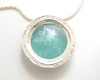 Stunning 925 Silver  Deep Bluish Roman Glass Pendant Necklace
