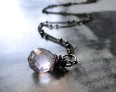 SALE Jewelry Accessories, Earrings Gemstone Necklace, Pink Quartz Teardrop Necklace, Accessories, Gift for Her, Gift Box