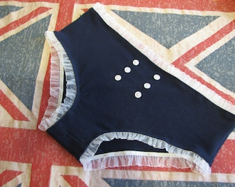 SALE - navy panties (size L) with white ruffle trim and buttons - 40s inspired