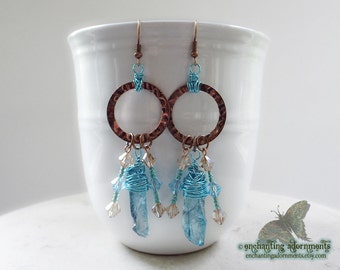 The Mystic Priestess ~ Enchantress ~ Aged Copper Earrings with Aura Quartz gemstones, crystal beads