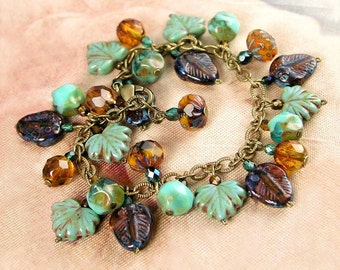 Amber Brown and Turquoise Blue Autumn Bracelet  Antique Gold Bracelet  Maple Leaf Bracelet