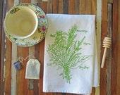 Eco Friendly Dinner Napkins - Screen Printed Cloth Napkins - Washable and Reusable - Botanical - Herb Bunch - Handmade Cotton Cloth Napkins