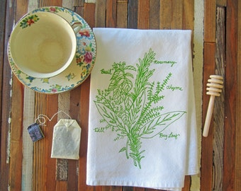 Eco Friendly Dinner Napkins - Screen Printed Cloth Napkins - Washable and Reusable - Botanical - Herb Bunch - Handmade Cotton Cloth Napkins