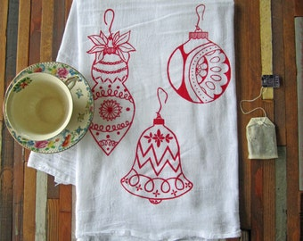 Tea Towel - Screen Printed Flour Sack Towel - Kitchen Towel - Christmas Ornaments - Christmas Tea Towel - Flour Sack Towel - Holiday Decor