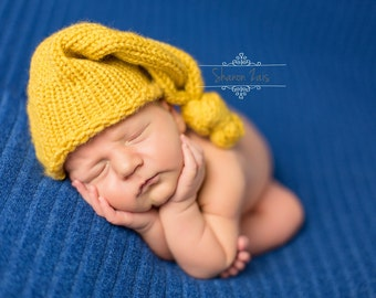 Mustard Yellow Newborn Knit Pixie Hat Photography Prop