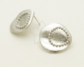 SI-574-MS / 2 Pcs - Abstract Round Stud Earrings, Matte Silver Plated, with .925 Sterling Silver Post / 20mm x 19mm