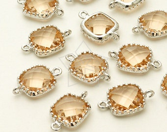 ZC-064-OR / 2 Pcs - Cushion Cut Rim Connector (Champagne), Silver Plated over Brass / 9mm x 14mm