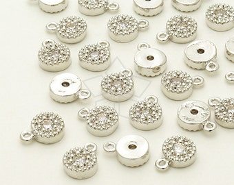PD-810-OR / 4 Pcs - Mini CZ Round Charm Pendant, Silver Plated over Brass / 5.6mm x 7.6mm
