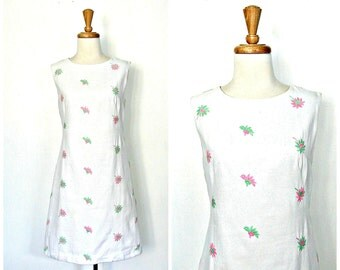 1960s Dress - white shift  dress - sheath - sundress - aline - summer wedding - resort wear - Medium