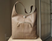 RARE - Authentic Vintage Coach Soft Sling Bag - Bonnie Cashin Precreed Taupe Leather Shoulder Tote