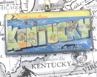 Greetings from Kentucky Vintage Large Letter Postcard Pendant Necklace