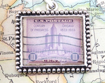 Vintage Century Of Progress 1930s United States Postage Stamp Necklace Pendant Key Ring