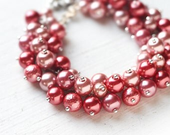 Red Bridesmaids Jewelry Pearl Cluster Bracelet - Fire Brick, Apple Red Color Wedding - Limited quantity!