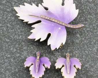 Vintage Mid-Century Purple Enamel Crystal Rhinestone Leaf Demi Parure Brooch Earrings