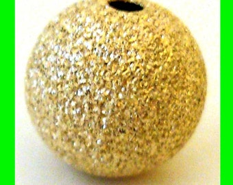 2pcs 10mm 14k yellow gold filled  seamless Stardust round beads GS23