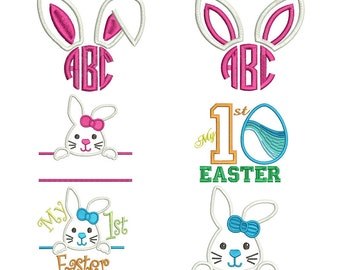 Easter Embroidery Designs - Machine Monogram Applique Designs - Instant Download
