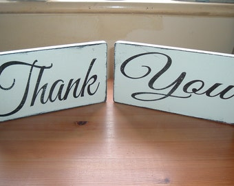 shabby chic distressed edged thank you wedding props signs plaques